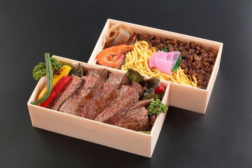 萬野和牛 ステーキ2段重