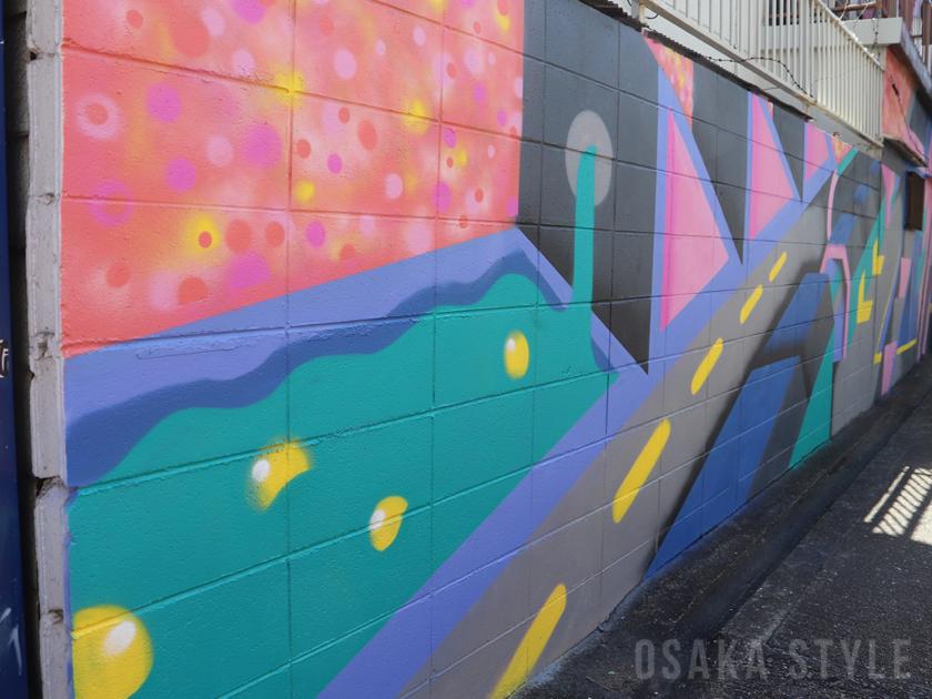 阪堺電車・今船駅の壁面にアート作品
